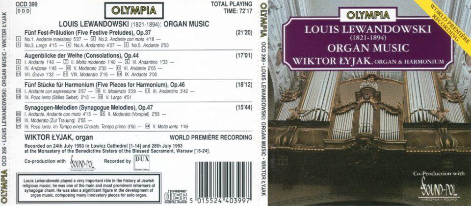 Louis Lewandowski – organ music